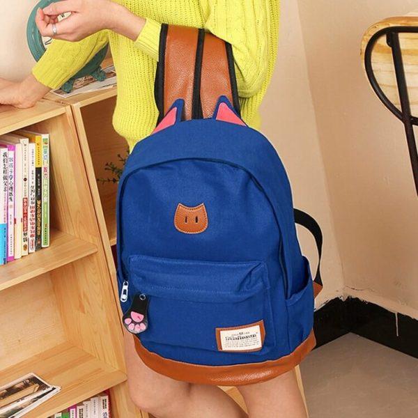 На картинке рюкзак с кошачьими ушками (6 цветов), общий вид, цвет синий.