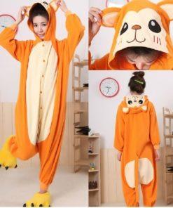 На картинке пижама-кигуруми «Обезьяна» (Обезьянка), вид спереди и сзади.