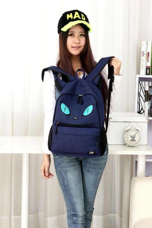 На картинке рюкзак кот с ушками (4 цвета), вид спереди, цвет синий.