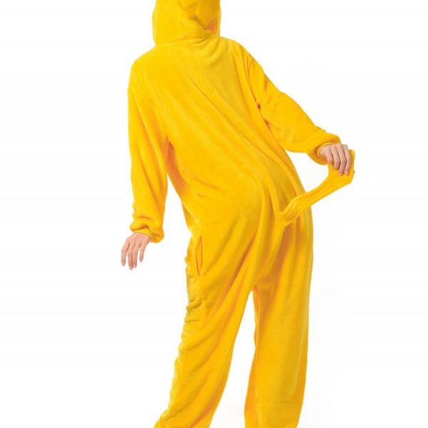 На картинке пижама-кигуруми «Джейк» (Время приключений), вид сзади.