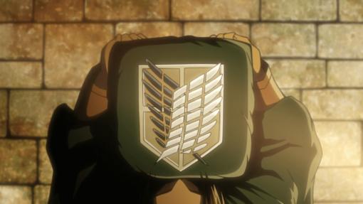 На картинке плащ Атака Титанов (Развед отряд), кадр из аниме.