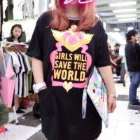 На картинке платье Сейлормун «Девушки спасут мир!» (Sailor moon) 2 цвета, вид спереди, цвет черный.