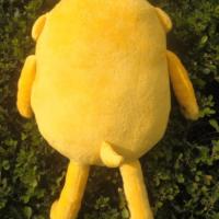 На картинке мягкая игрушка Джейк «Время приключений» (Adventure time) 2 варианта, вид сзади, вариант 20 см.