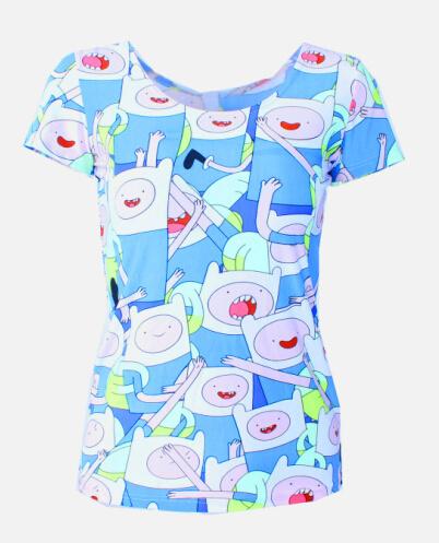 На картинке футболка Время приключений женская (Adventure time) 5 вариантов, вид спереди, вариант Финн.