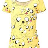 На картинке футболка Время приключений женская (Adventure time) 5 вариантов, вид спереди, вариант Джейк.