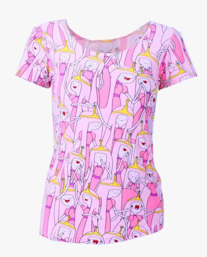 На картинке футболка Время приключений женская (Adventure time) 5 вариантов, вид спереди, вариант Принцесса Бубыльгум.