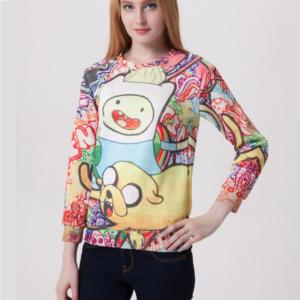 На картинке свитшот-кофта «Джейк и Финн» из Время приключений (Adventure time) 4 варианта, вид спереди, вариант Разноцветная.