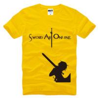 На картинке футболка «Кирито» (Sword Art Online) 5 вариантов, вид спереди, цвет желтый.