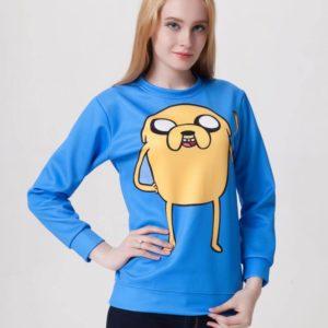 На картинке свитшот-кофта «Джейк» Время приключений (Adventure time), общий вид, вариант Голубой.