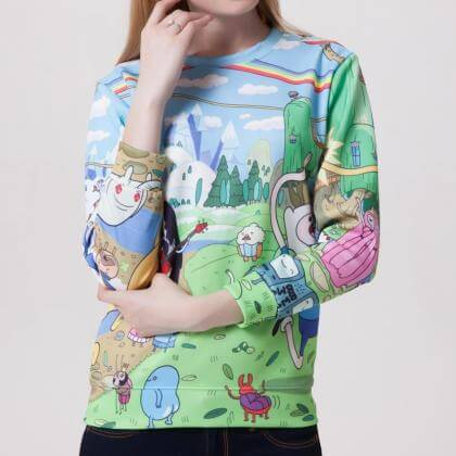 На картинке свитшот-кофта «Время приключений» (Adventure time) 4 варианта, вид спереди, вариант Разноцветная.