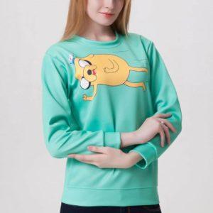 На картинке свитшот-кофта «Джейк» Время приключений (Adventure time), общий вид, вариант Зеленый.