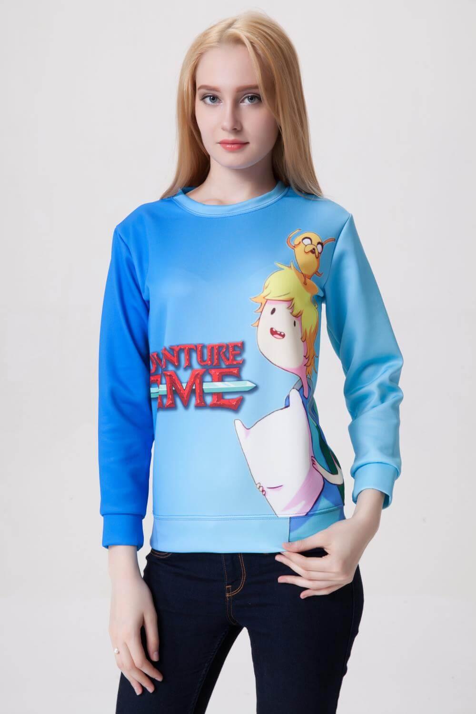 На картинке свитшот-кофта «Джейк и Финн» из Время приключений (Adventure time) 4 варианта, вид спереди, вариант Синяя.