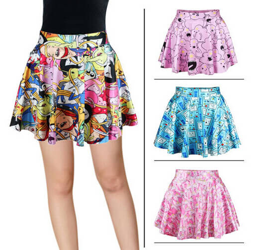 На картинке юбка Время приключений (Adventure time) 5 вариантов, 4 варианта.