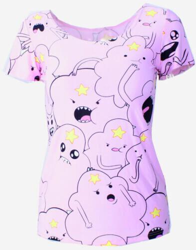 На картинке футболка Время приключений женская (Adventure time) 5 вариантов, вид спереди, вариант Принцесса Пупырка.