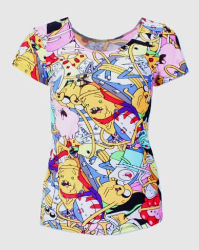 На картинке футболка Время приключений женская (Adventure time) 5 вариантов, вид спереди, вариант Время приключений.