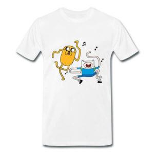 На картинке футболка Время приключений (Adventure time) 6 вариантов, вид спереди, вариант Джейк и Финн.