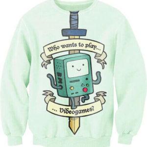 На картинке свитшот-кофта «Бимо» из Время приключений (Adventure time), вид спереди.