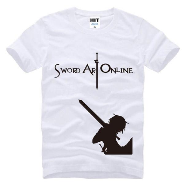На картинке футболка «Кирито» (Sword Art Online) 5 вариантов, вид спереди, цвет белый.