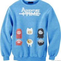 На картинке свитшот-кофта «Время приключений» (Adventure time) 4 варианта, вид спереди, вариант Голубая.