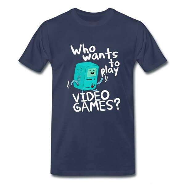 На картинке футболка Время приключений (Adventure time) 6 вариантов, вид спереди, вариант Бимо.
