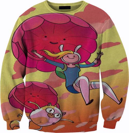 На картинке свитшот-кофта «Джейк и Финн» из Время приключений (Adventure time) 4 варианта, вид спереди, вариант Розовая.