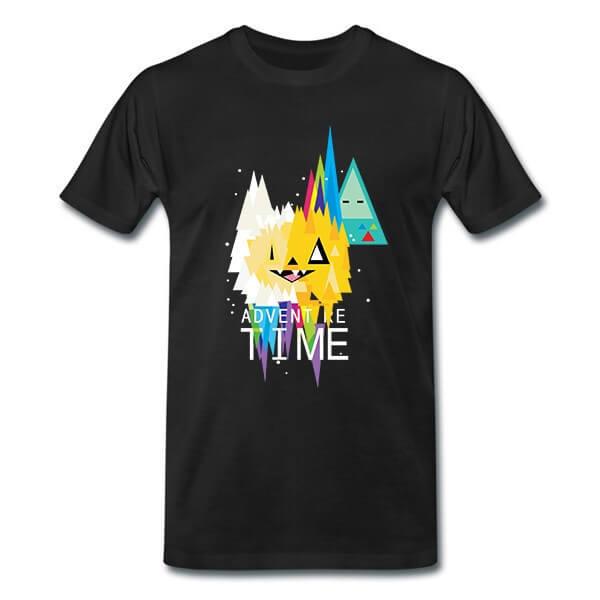 На картинке футболка Время приключений (Adventure time) 6 вариантов, вид спереди, вариант Абстракция.