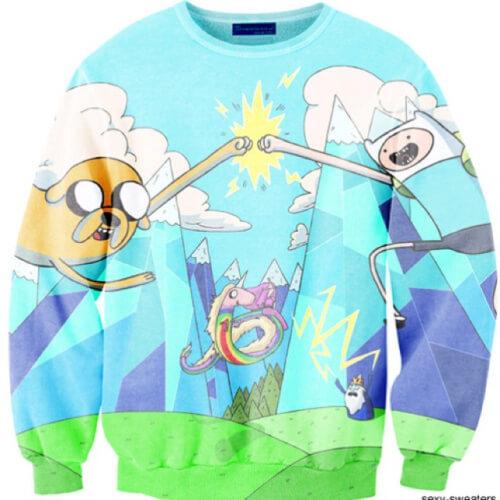 На картинке свитшот-кофта «Джейк и Финн» из Время приключений (Adventure time) 4 варианта, вид спереди, вариант Голубая.