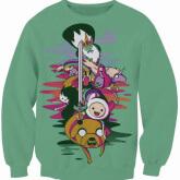 На картинке свитшот-кофта «Время приключений» (Adventure time) 4 варианта, вид спереди, вариант Зеленая.