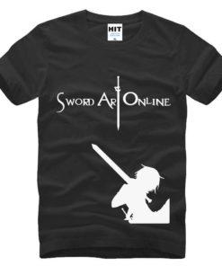 На картинке футболка «Кирито» (Sword Art Online) 5 вариантов, вид спереди, цвет черный.