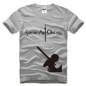 На картинке футболка «Кирито» (Sword Art Online) 5 вариантов, вид спереди, цвет серый.