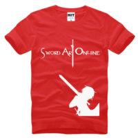 На картинке футболка «Кирито» (Sword Art Online) 5 вариантов, вид спереди, цвет красный.