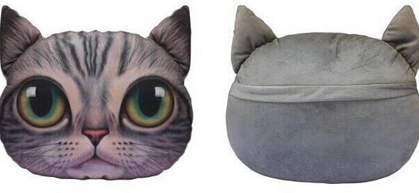На картинке подушка «Голова кота» (5 вариантов), вид спереди и сзади, вариант E.