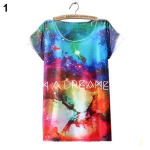 На картинке футболка «Космос» женская (5 вариантов), вид спереди, вариант 1.