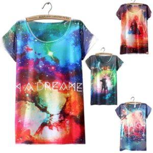 На картинке футболка «Космос» женская (5 вариантов), вид спереди, 4 варианта.