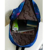 На картинке рюкзак космос с усами (усиками), вид внутри, вариант голубой.