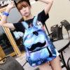 На картинке рюкзак космос с усами (усиками), общий вид, вариант голубой.