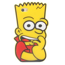 На картинке силиконовый чехол на айфон 4-4S-5-5S-6 Барт Симпсон, вид спереди.
