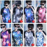 На картинке футболка «Космос» мужская (8 вариантов), вид спереди, все варианты.