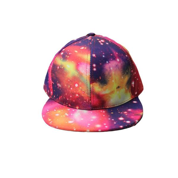 На картинке кепка с прямым козырьком «Космос», вид спереди, вариант розовый.