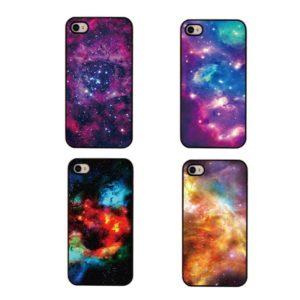 На картинке чехол на айфон космос (iPhone 4-4S-5-5S), вид спереди. 4 варианта.