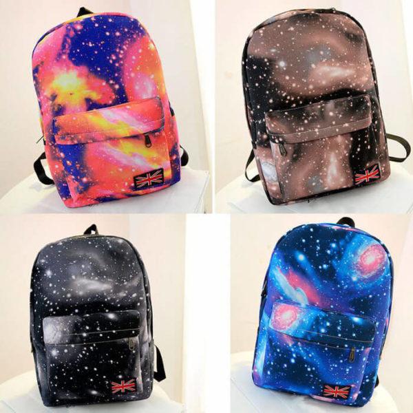 На картинке рюкзак с космическим принтом (принтом космос) 4 варианта, вид спереди.