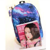 На картинке рюкзак с космическим принтом (принтом космос) 4 варианта, общий вид, вариант голубой.