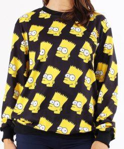 На картинке свитшот с Бартом Симпсоном (Simpsons), вид спереди, цвет черный.