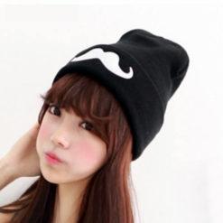 На картинке шапка с усами (6 вариантов), общий вид, цвет черный.