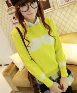 На картинке свитер с усами (3 варианта), общий вид, цвет лимонный.