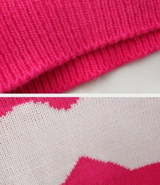 На картинке свитер с усами (3 варианта), детали, цвет розовый.