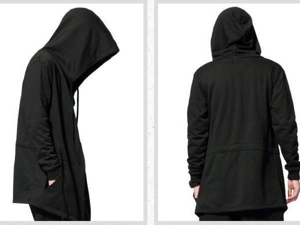 На картинке мантия кочевняя черная с капюшоном, вид сзади и сбоку.