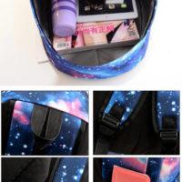 На картинке рюкзак с космическим принтом (принтом космос) 4 варианта, детали, вариант голубой.