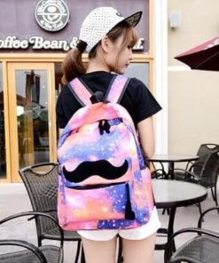 На картинке рюкзак космос с усами (усиками), вид спереди, вариант розовый.