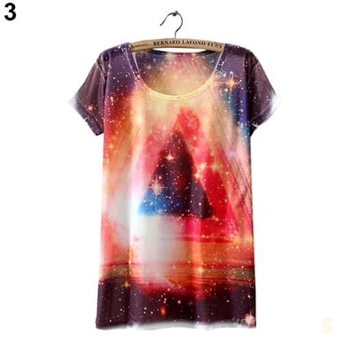 На картинке футболка «Космос» женская (5 вариантов), вид спереди, вариант 3.